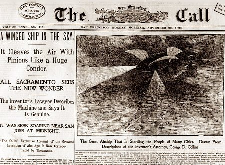 Titelseite The San Francisco Call vom 23. November 1896: A WINGED SHIP IN THE SKY