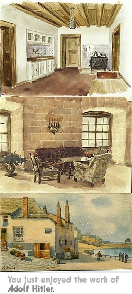 Drei Gemälde mit bürgerlichen Idyllvorstellungen. Darunter der Text: 'You just enjoyed the work of Adolf Hitler'