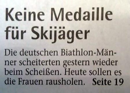 Keine Medaille für Skijäger -- Die deutschen Biathlon-Männer scheiterten gestern wieder beim Scheißen. Heute sollen es die Frauen rausholen.