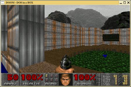 Screenshot: DooM läuft in einer DOSbox unter Linux