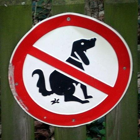 Schild an einem Gartenzaun im Stile eines Verkehrsschildes, roter Rand, kackender Hund, durchgestrichen