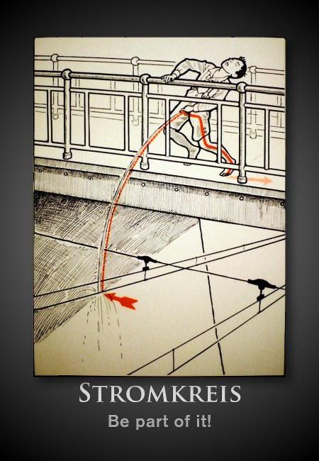 Schematische Zeichnung eines Mannes, der von einer Brücke aus auf die Oberleitung pinkelt und mit seinem geerdeten Fuß Teil eines Stromkreises wird -- Stromkreis: Be part of it!