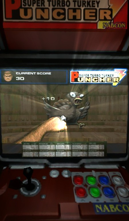 Screenshot Doom 3 mit einem dort herumstehenden Arcade-Spiel: Super Turbo Turkey Puncher (Nabcon) -- Die Grafiken auf dem Bildschirm sind stark von Doom 1 inspiriert.