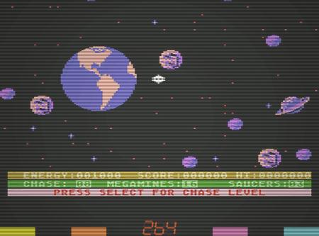 Der erdnahe Weltraum ist voller Kugeln und Planeten, teils sogar mit Ringen. Screenshot des Arcade-Spieles 'Astro Chase' aus dem Jahr 1982
