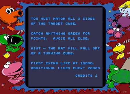 Screenshot Q*bert's Qubes, Mylstar Electronics, 1983: You must match all 3 sides of the target cube. Catch anything green for points. Avoid all else. Hint: The rat will fall of a turning cube. First extra life at 10000. Additional lifes every 20000.