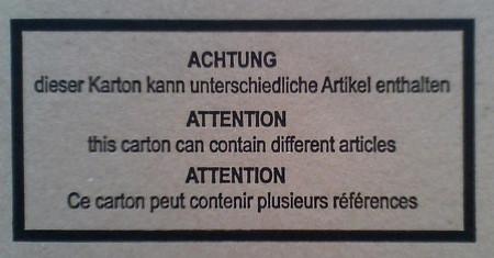 Achtung dieser Karton kann unterschiedliche Artikel enthalten -- Attention this carton can contain different articles -- Attention ce carton peut contenir plusieurs références