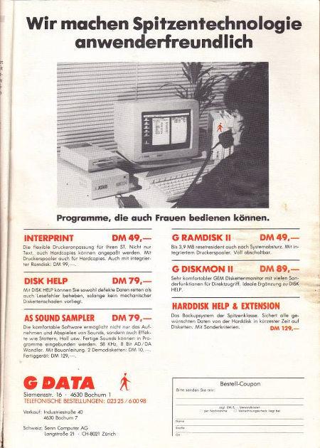 G-Data-Werbung aus den Achtziger Jahren -- Wir machen Spitzentechnologie anwenderfreundlich -- Programme, die auch Frauen bedienen können.