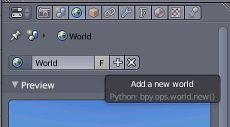 Screenshot eines Blender-Tooltips: »Add a new world«