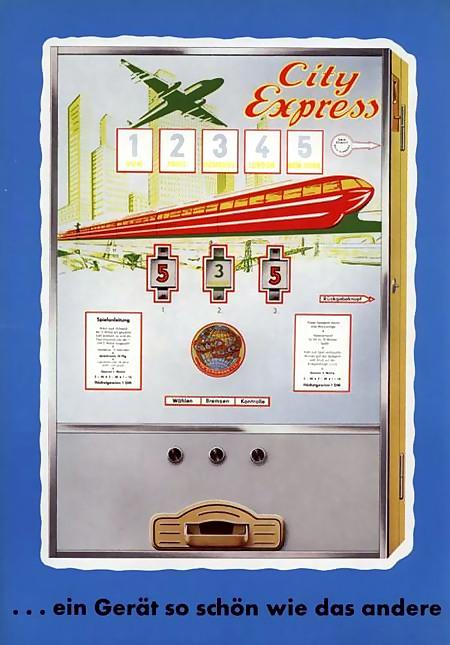 Werbung für das Geldspielgerät 'City Express' von Bergmann aus dem Jahr 1963: Ein Gerät so schön wie das andere
