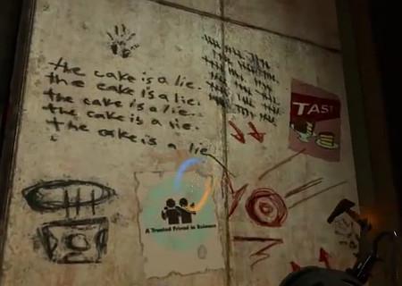 Screenshot aus Portal: the cake is a lie. the cake is a lie. the cake is a lie. the cake is a lie. the cake is a lie.
