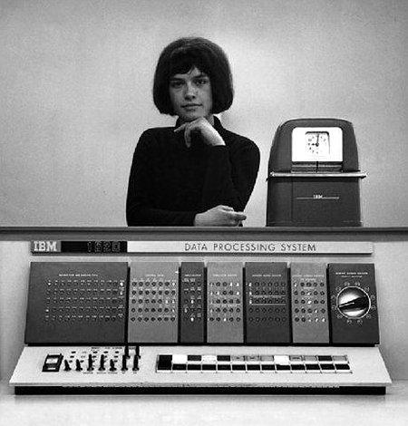 Werbebild eines Datenverabeitungssystems von IBM, mutmaßlich aus den frühen Siebziger Jahren