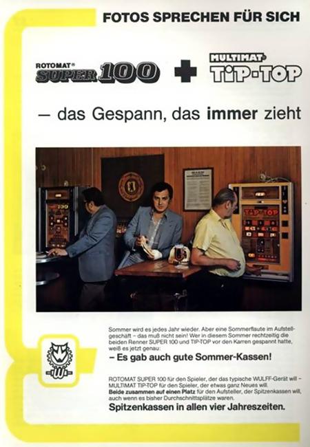 An Automatenaufsteller gerichtete Werbung von Wulff Automaten mit dem Claim 'Fotos sprechen für sich' unter einem offensichtlich gestellten Reklamefoto, das zwei Spieler an Wulff-Geräten zeigt.