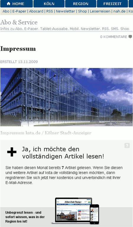 Screenshot der Website des Kölner Stadt-Anzeigers. Um das Impressum zu lesen, muss man in dem Paid-Content-System blechen