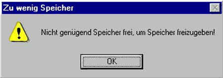 Windows-2000-Fehlermeldung: Nicht genügend Speicher frei, um Speicher freizugeben!