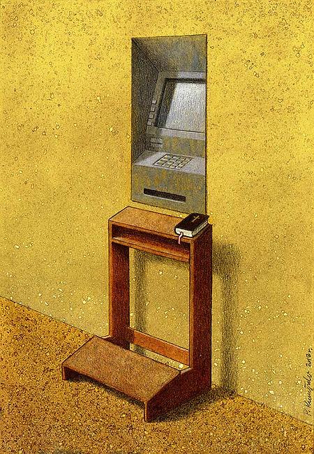 Satirische Karikatur. Vor einem Geldautomaten ist eine Kniebank mit Gebetbuch angebracht.