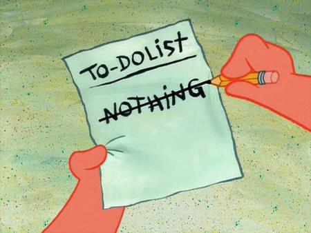 Eine To-Do-Liste, auf der das Wort 'Nothing' durchgestrichen wurde