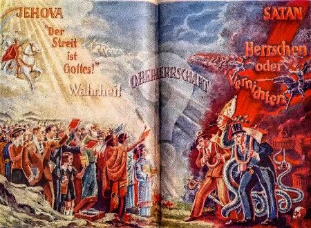 Illustrierte Doppelseite aus einem Buch der Zeugen Jehovas aus den Dreißiger Jahren. Auf der einen Seite im Licht die kämpfenden und siegreichen Horden Jehovas, auf der anderen Seite die Anhänger Satans, also alle anderen