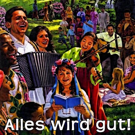 Illustration aus einem Wachtturm der Zeugen Jehovas, die ein bourgeois-kitschiges Idyll zeigt