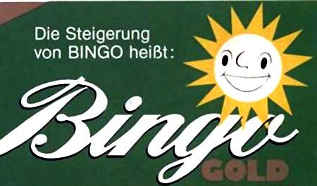 Grafik aus einer Werbung aus den Achtziger Jahren: Die Steigerung von Bingo heißt Bingo Gold.