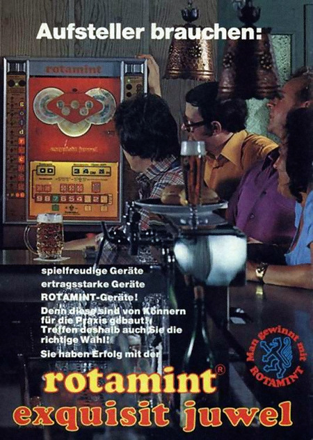 Werbung für das NSM-Geldspielgerät Rotamit Exquisit Juwel aus dem Jahr 1976 -- Aufsteller brauchen: spielfreudige Geräte, ertragsstarke Geräte, ROTAMINT-Geräte! Denn die sind von Könnern für die Praxis gebaut! Treffen deshalb auch Sie die richtige Wahl! Sie haben Erfolg mit der Rotamit Exquisit Juwel