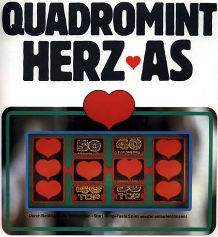 Werbung für das NSM-Geldspielgerät Quadromint Herz As mit Darstellung der vier Walzen im Vollbild mit acht Herzen