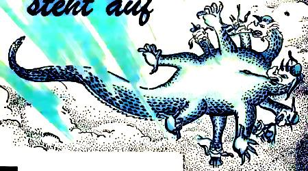 Illustration aus einem Druckwerk der Zeugen Jehovas aus den frühen Siebziger Jahren: Der siebenköpfige Drache fällt auf die Erde.