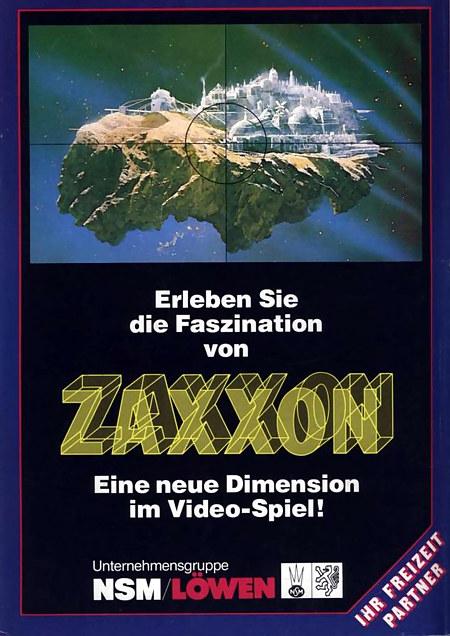 Werbung für das Arcade-Spiel Zaxxon in einer Fachzeitschrift. Erleben Sie die Faszination von ZAXXON -- Eine neuen Dimension im Video-Spiel! -- Unternehmensgruppe NSM/LÖWEN, Ihr Freizeit Partner
