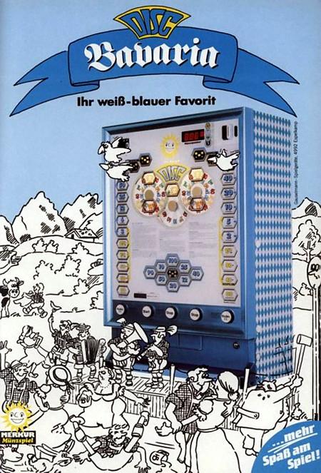 Werbung für das APD-Geldspielgerät Merkur Disc in einer speziellen Ausführung in weiß-blau für bayerische Zielgruppe aus dem Jahr 1985 -- Disc Bavaria: Ihr weiß-blauer Favorit