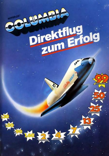 An Aufsteller gerichtete Werbung für das Geldspielgerät Rotoflex Columbia von Bally Wulff. Das Bild ist ein Space Shuttle mit Bally-Wulff-Logo auf der Seite, das längs der Risikoleiter des Gerätes in den Himmel steigt. Dazu der Spruch: 'Rotoflex Columbia -- Direktflug zum Erfolg