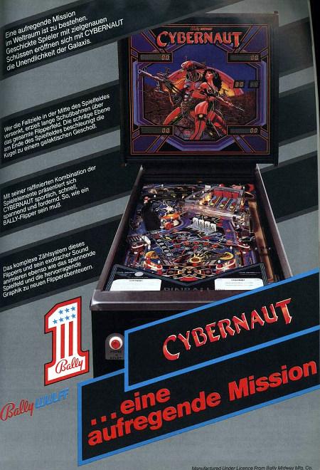 Werbung von Bally Wulff für den Flipper 'Cybernaut' aus dem Jahr 1985