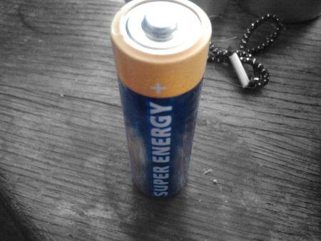 Batterie mit dem Aufdruck 'SUPER ENERGY'