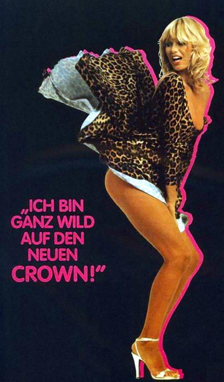 Text neben einer Frau mit hochgeblasenem kurzen Röckchen: 'Ich bin ganz wild auf den neuen Crown!'