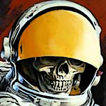 Bild eines Totenschädels, der aus dem halbgeöffneten Augenschutzfilter eines Astronautenanzuges hervorschaut.