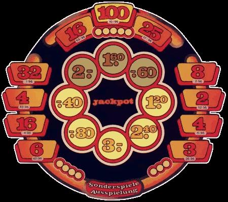 Detail der Scheibe des NSM-Geldspielgerätes Triomint Casino mit dem Ringjackpot
