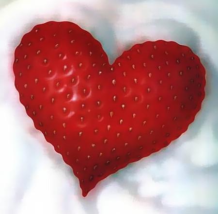 Eine Erdbeere in Form eines Herzens