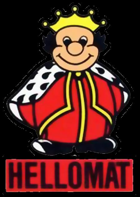 Hellomat-Logo aus den 80er Jahren. Ein fetter, beinahe knuffig aussehender König steht auf einem roten Rechteck mit der Marke Hellomat. Die Geldspielgeräte von Hellomat solle es nicht mehr lange geben...