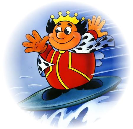 Bild aus einer Werbung des Geldspielgeräte-Herstellers Hellomat aus dem Jahr 1988: Der Hellomat-König steht vergnügt auf einem Surfbrett