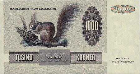 Rückseite der dänischen Banknote zu tausend Kronen aus der 1972er-Serie mit einem Eichhörnchen als Motiv