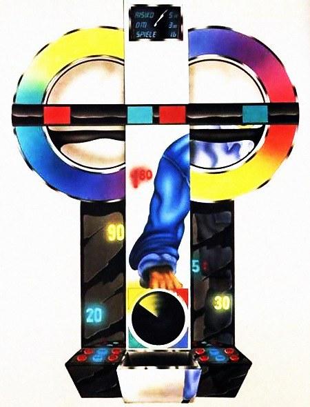 Detail aus einer Werbung aus dem Jahr 1992 mit einer absurd-dadaistischen Darstellung eines Geldspielgerätes oder eines Spielers an diesem Gerät oder sonstwas...