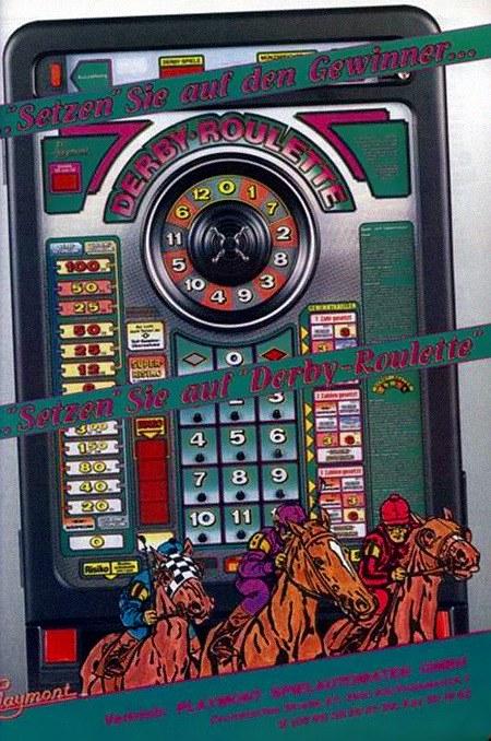 Werbung für das Playmont-Geldspielgerät Derby-Roulette aus dem Jahr 1991