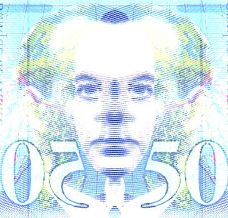 Nachbearbeitete, durch Überlagerung einer Spiegelung symmetrisch gemachte, alte französische Banknote zu 50 Franc