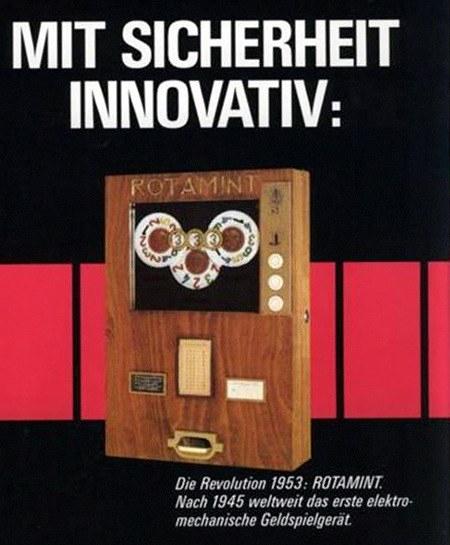 Mit Sicherheit innovativ: Die Revolution 1953: ROTAMINT. Nach 1945 weltweit das erste elektromechanische Geldspielgerät