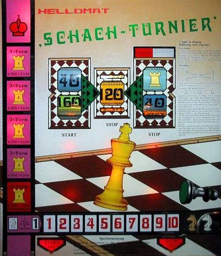 Scheibe des Hellomat-Geldspielgerätes 'Schach-Turnier' aus dem Jahr 1973