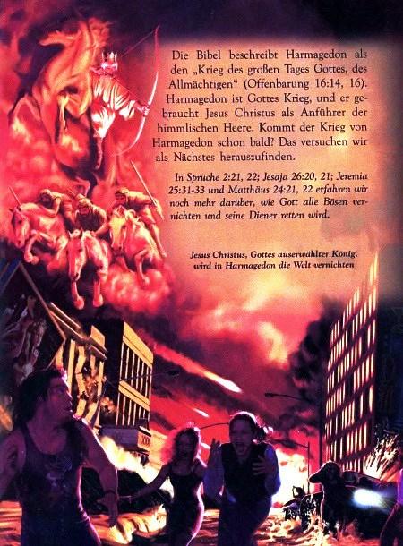 Die Bibel beschreibt Harmagedon als den 'Krieg des großen Tages Gottes, des Allmächtigen' (Offenbarung 16:14,16). Harmagedon ist Gottes Krieg, und er gebraucht Jesus Christus als Anführer der himmlischen Heere. Kommt der Krieg von Harmagedon schon bald? Das versuchen wir als Nächstes herauszufinden. -- In Sprüche 2:21,22, Jesaja 25:20,21, Jeremia 25:31-33 und Matthäus 24:21,22 erfahren wir noch mehr darüber, wie Gott alle Bösen vernichten und seine Diener retten wird. -- Jesus Christus, Gottes auserwählter König, wird in Harmagedon die Welt vernichten