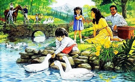 Ein unbeschreiblich kitischiges Bild aus einem Wachtturm der Zeugen Jehovas, zusammengesetzt aus spießigen Vorstellungen von einem Leben im idyllhaften Paradies.