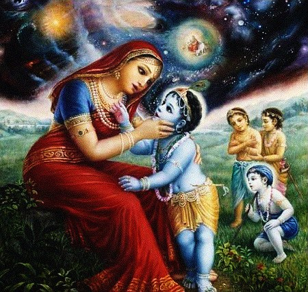 Der kleine Krishna hat den Mund voll Kosmos