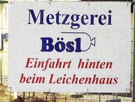 Metzgerei Bösl: Einfahrt hinten beim Leichenhaus