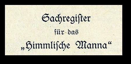 Sachregister für das Himmlische Manna