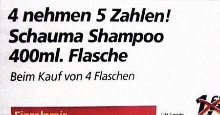 4 nehmen 5 Zahlen! Schauma Shampoo 400ml. Flasche -- Beim Kauf von vier Flaschen
