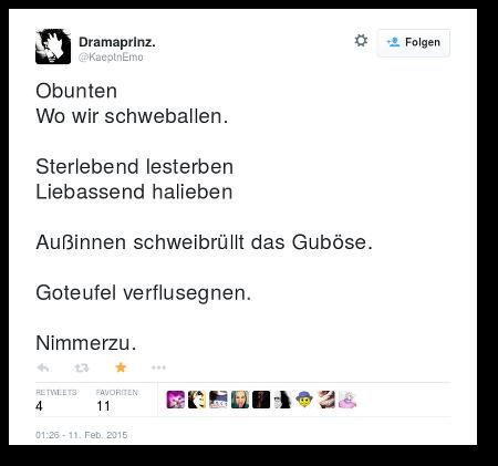 Obunten / Wo wir schweballen / Sterlebend lesterben / Liebassend halieben / Außinnen schweibrüllt / Goteufel verflusegnen / Nimmerzu.